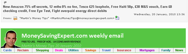 Money Saving Expert's long subject line acts as a contents section