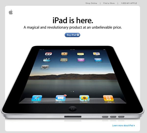 Design inspiration apple ipad launch email