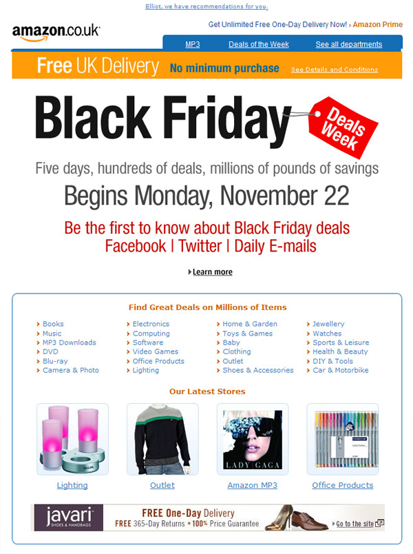 Amazon Black Friday Comes To The Uk Email Design Review