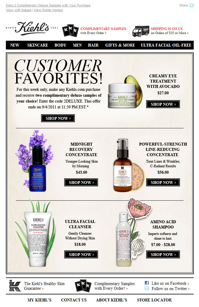 Email Inspiration Kiehl S Customer Favourites Email