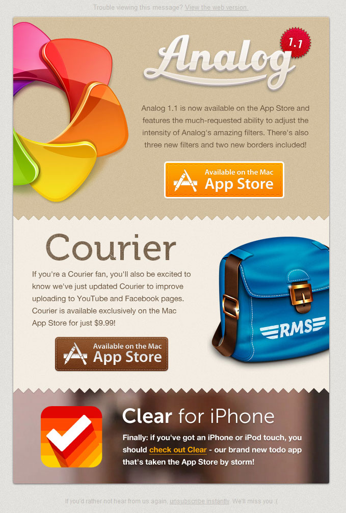 email inspiration realmac software newsletter